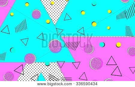 Memphis Design. Splash Decor. Ultramarine Pop Illustration. Hipster Texture. Funky Cover. Violet Str