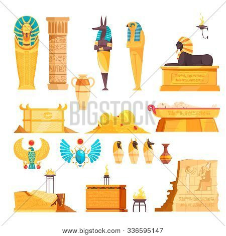 Egyptian Ancient Tombs Elements Burial Chambers Goods Mummies Etched Walls Gold Amulets Flat Set Iso