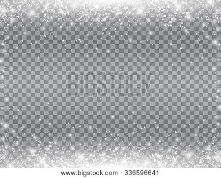 Shining Snow Border. Snow Falling On Transparent Background. Merry Christmas Card. Magic Snowfall. W