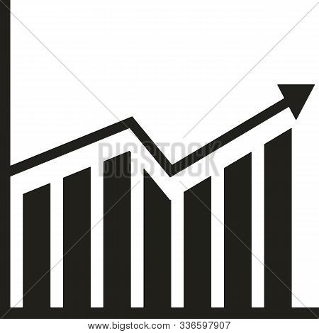Business Graph And Chart Growing Up In Black On A White Background. Vector Illustration