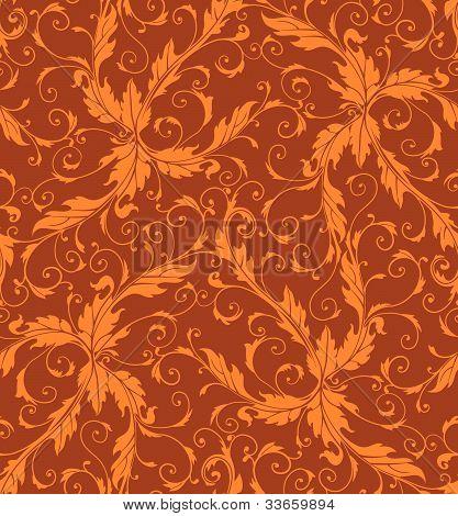 Classic foliage swirl seamless pattern