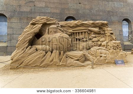 Saint Petersburg, Russia - June 13, 2019: The Exhibition Of Sand Sculptures At The Peter And Paul Fo