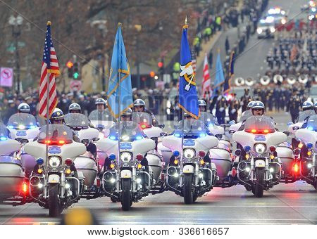 Washington, Dc - Jan.20, 2017: Police Motorcycle Formation Ride After The Inauguration Of Donald Tru