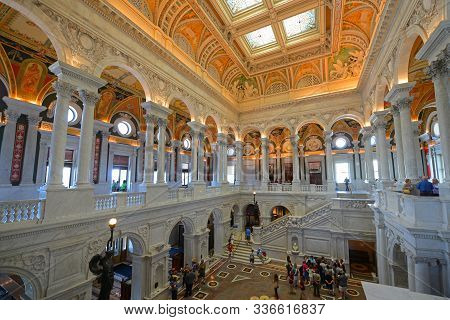 Washington Dc - Jun 24, 2014: Great Hall Of Thomas Jefferson Building In Library Of Congress On Capi