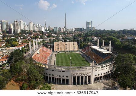 Sao Paulo, Brazil, October 11, 2019. Aerial View Made Of Drone Of The Paulo Machado De Carvalho Muni