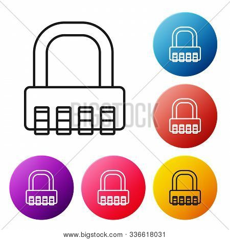 Black Line Safe Combination Lock Icon Isolated On White Background. Combination Padlock. Security, S