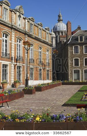 Town square with town hall in the old town of Boulogne-sur-Mer. Pas de Calais. France poster