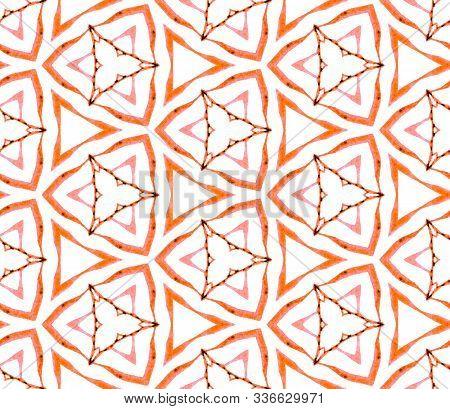 Orange Summer Seamless Pattern. Hand Drawn Watercolor Ornament. Modern Repeating Tile. Posh Fabric C