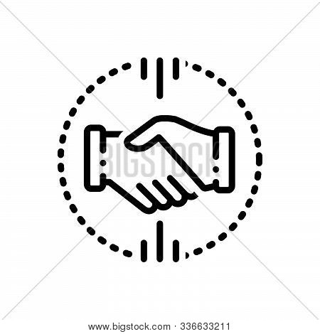 Black Line Icon For Acquisitions  Mergers  Acquirer  Partnership Handshake