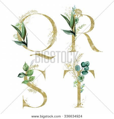Gold Floral Alphabet Set - Letters Q, R, S, T With Green Botanic Branch Bouquet Composition. Unique