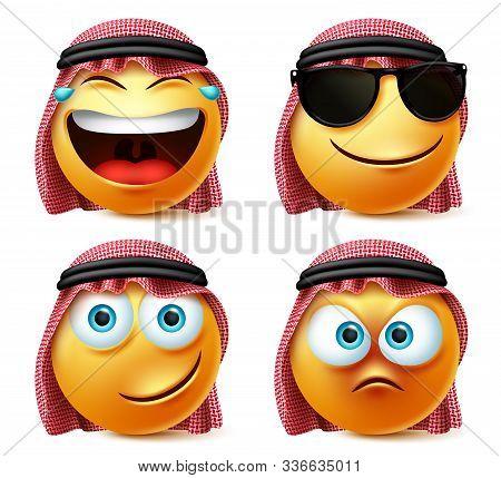 Saudi Arab Emoticon Vector Set. Emotions Or Emoji Of Saudi Arabian Man Face In Laughing, Naughty And