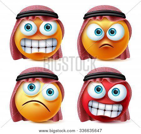 Angry Saudi Arab Emoji And Emoticon Vector Set. Emoticons Of Saudi Arabian Wearing Thawb In Angry, S
