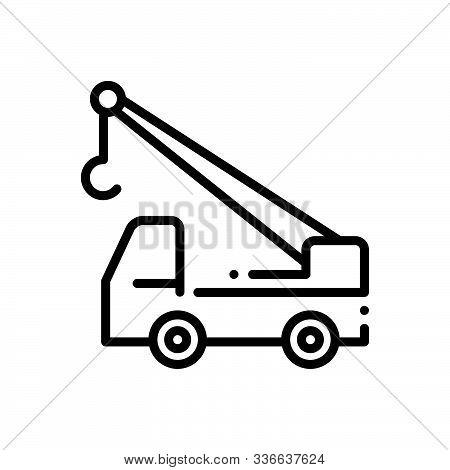 Black Line Icon For Construction_crane-truck Crane Truck Construction-crane Vehicle