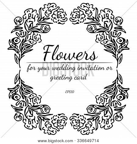 Wreath Of Roses Or Peonies Flowers And Branches Isolated On White Background. Foral Frame Design Ele