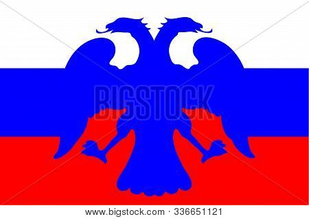 Background Russian Flag In Flat Style With The Image Of A Double-headed Eagle. Tricolour Banner. Pen