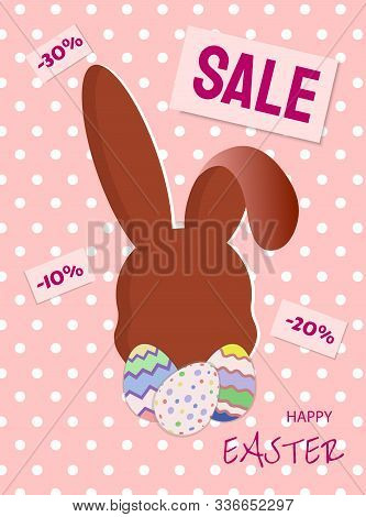 bunny sale easter banner vector illustration EPS 10. Happy Easter, easter bunny, easter background, easter banners, easter flyer, easter design,easter with flowers on red background, Copy space text area, vector illustration.