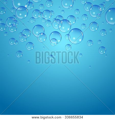 Soap Bubbles Background, Vector Illustration. Set Of Clean Water, Soap, Gas Or Air Bubbles With Refl