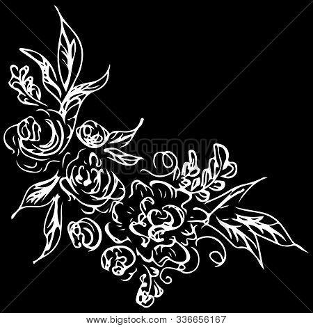 Line Art Rose Pattern. White Background. Abstract Background. Vintage Floral Pattern. Stencil Art. V