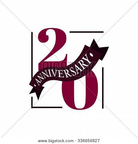 20th Anniversary Vector Logo Illustration. 20 Years Anniversary Celebration Logotype With Number And