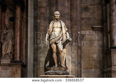 Milan, Italy - March 8, 2019: Statue Of St. Bartholomew Flayed Was One Of 12 Apostles And An Early C