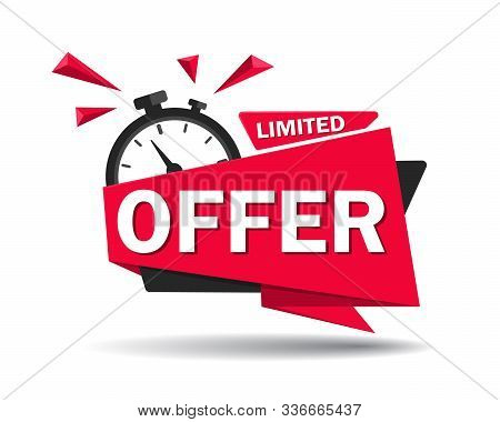 Red Limited Offer With Clock For Promotion, Banner, Price. Label Countdown Of Time For Offer Sale Or