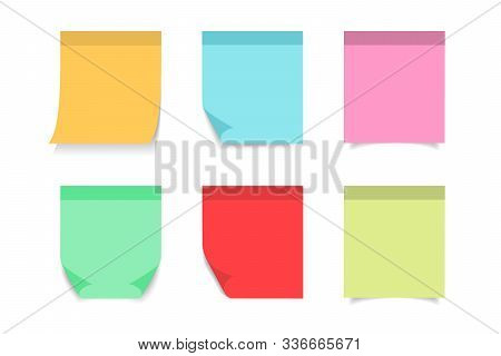 Paper Sticky Post Note With Red, Blue, Orange, Yellow, Pink Color. Memo Sticker For Notepad, Board,