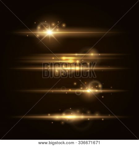 Gold Lens Flars Vector Illustration. Shine Starlight Isolated On Transparent Background. Glowing Lig