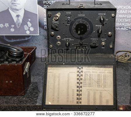 Kamensk-shakhtinsky, Russia-august 17, 2019: Wave Meter-local Oscillator, Type 526, 1955 (inscriptio