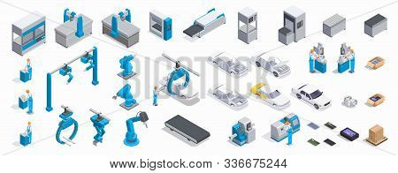 Isometric 3d Icons Set With Male Mechanics Repair Parts And Automated Industrial Equipment For Car P