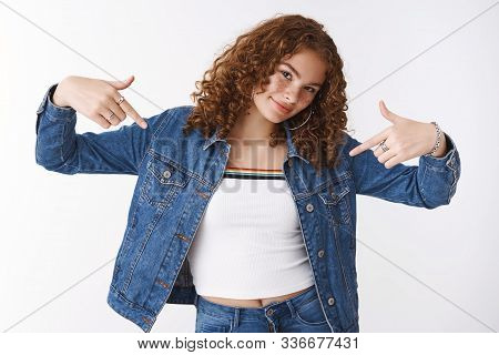 Girl Acting Like Pro. Confident Sassy Stylish Good-looking Redhead Female Student Pointing Herself P
