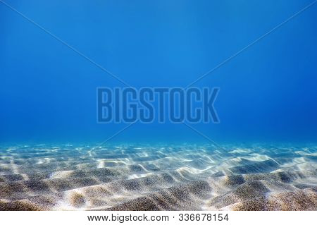 Underwater Blue Ocean, Sandy Sea Bottom Underwater Background