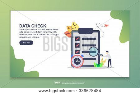 Landing Page Template Of Data Check. Modern Flat Design Concept Of Web Page Design For Website And M