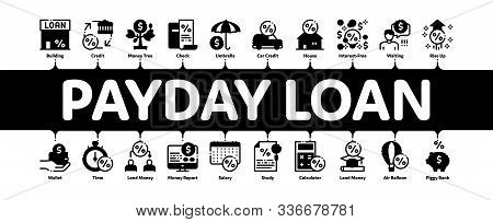 Payday Loan Minimal Infographic Web Banner Vector. Payday Money For Credit Of Car Or House, Educatio