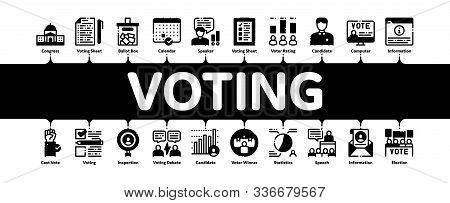 Voting And Election Minimal Infographic Web Banner Vector. Congress Building And Monitor, Calendar A