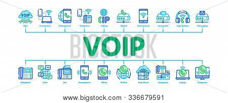 Voip Calling System Minimal Infographic Web Banner Vector. Server For Voice Ip And Cloud, Smartphone