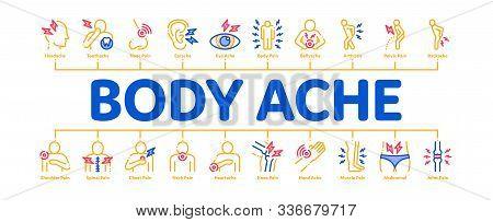 Body Ache Minimal Infographic Web Banner Vector. Headache And Toothache, Backache And Arthritis, Sto
