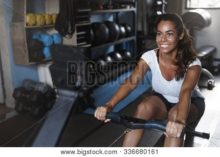 Productive Fitness Workout, Active Lifestyle Concept. Happy, Motivated Young Female Athlete, Smiling