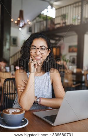 Vertical Outdoor Shot Young Teacher In Glasses With Curly Hair, Having Meeting With Student, Tutor T