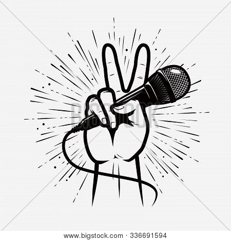 Microphone In Hand. Music, Song Symbol. Vector Illustration