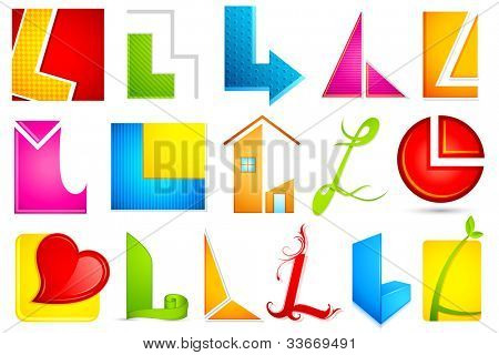 illustration of set of different colorful icon for alphabet L