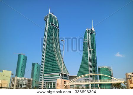 Manama / Bahrain - Oct 14th 2019 : Bahrain Financial Harbour District In Manama With Stunning Landma