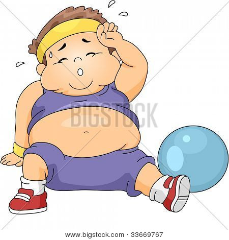 Illustration of an Overweight Boy Exercising