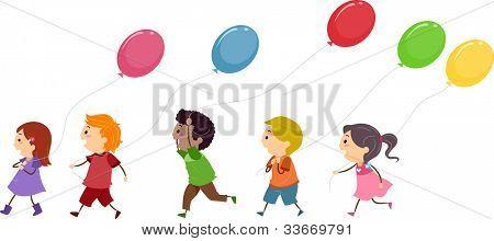 Illustration of Kids Holding Balloons