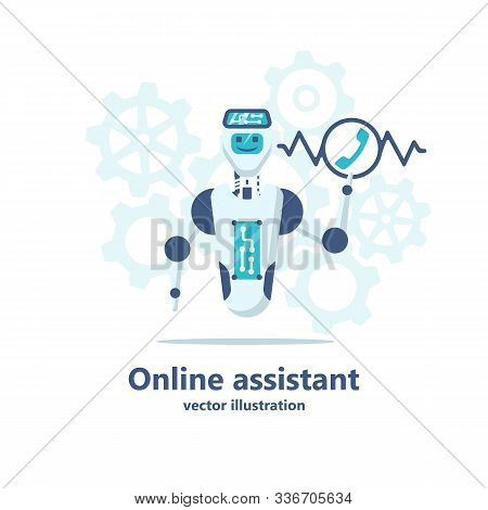 Chatbot Online Assistant. Robot Call Center Receives Call. Automatic Web Sait Assistant. Bot Talk On