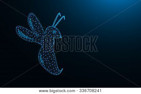 Hornet Low Poly Icon, Insect Abstract Geometric Image, Animal Wireframe Mesh Polygonal Vector Illust