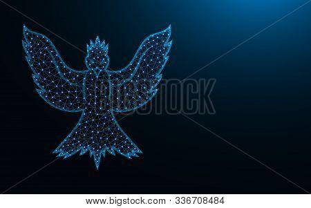 Phoenix Bird Low Poly Design, Animal Abstract Geometric Image, Mythological Creature Wireframe Mesh