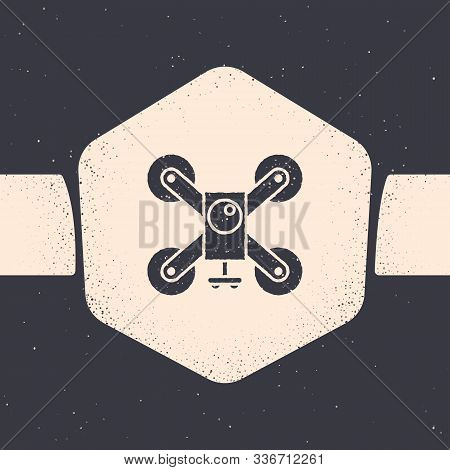 Grunge Drone Flying With Action Video Camera Icon Isolated On Grey Background. Quadrocopter With Vid