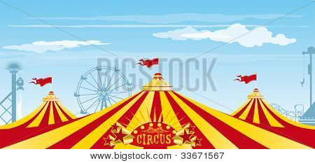 big top on the sky. Three big tops in an amusement Park.