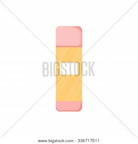 Isolated Cleancer Or Lotion Bottle. Cute Skincare Cosmetics Icon In Cartoon Style. Beauty Woman Face