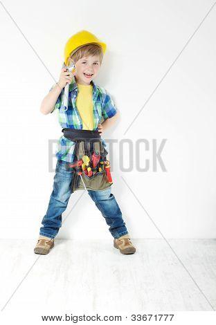 Little Boy Handyman With Helmet